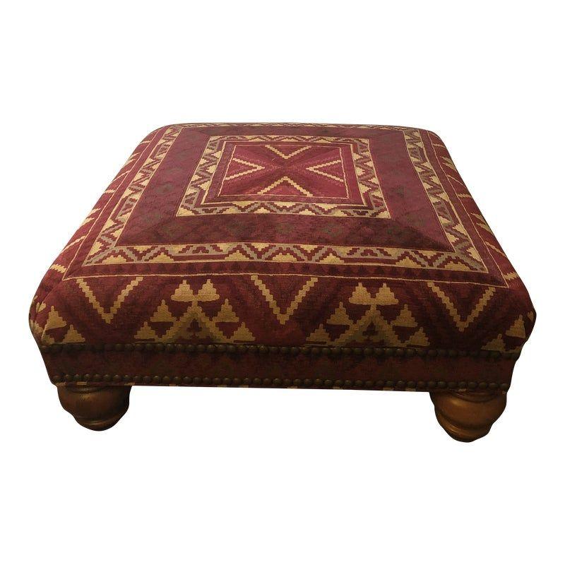 Sherrill Furniture Red Chenille Ottoman/Coffee Table