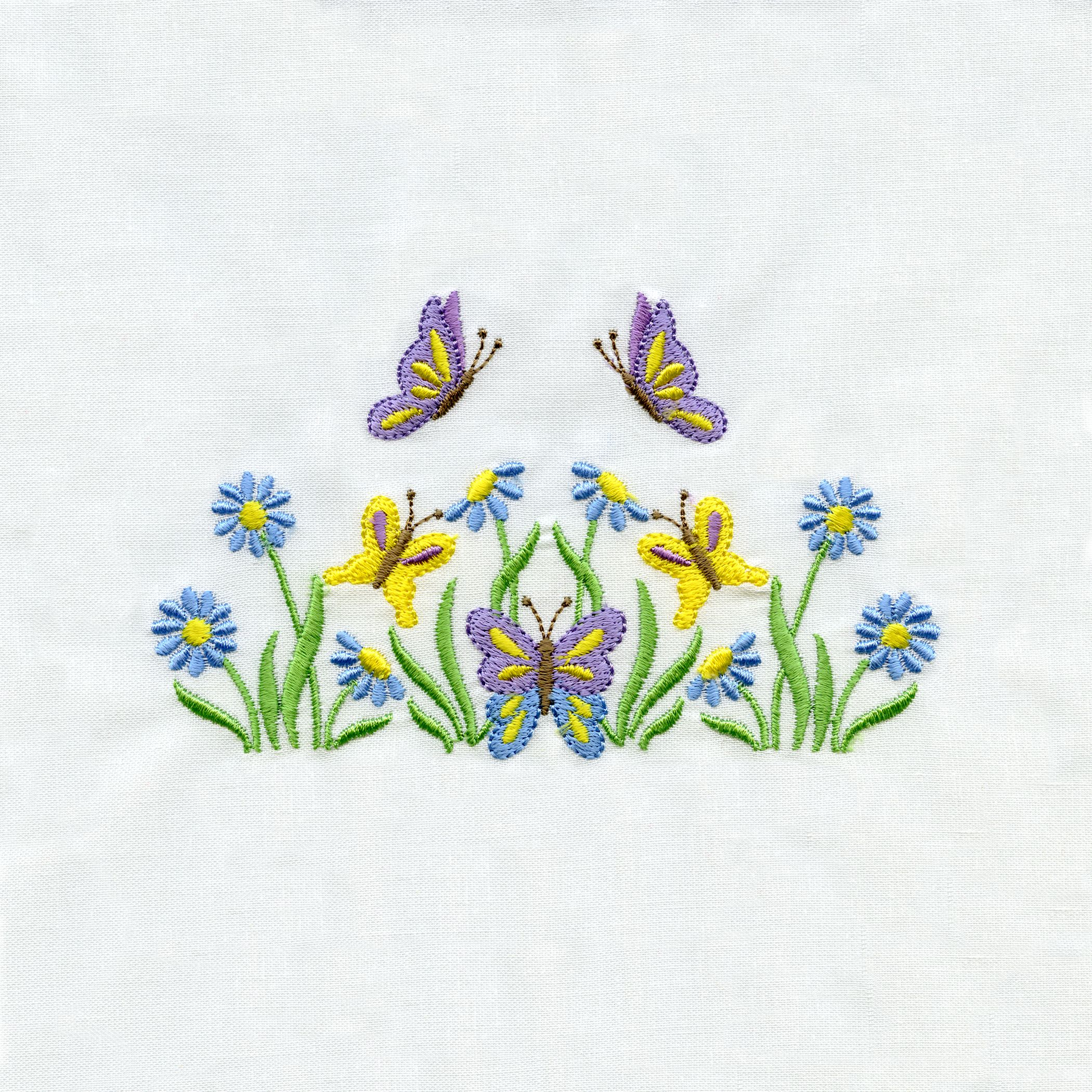Flowers and butterflies april monthly designs bordados