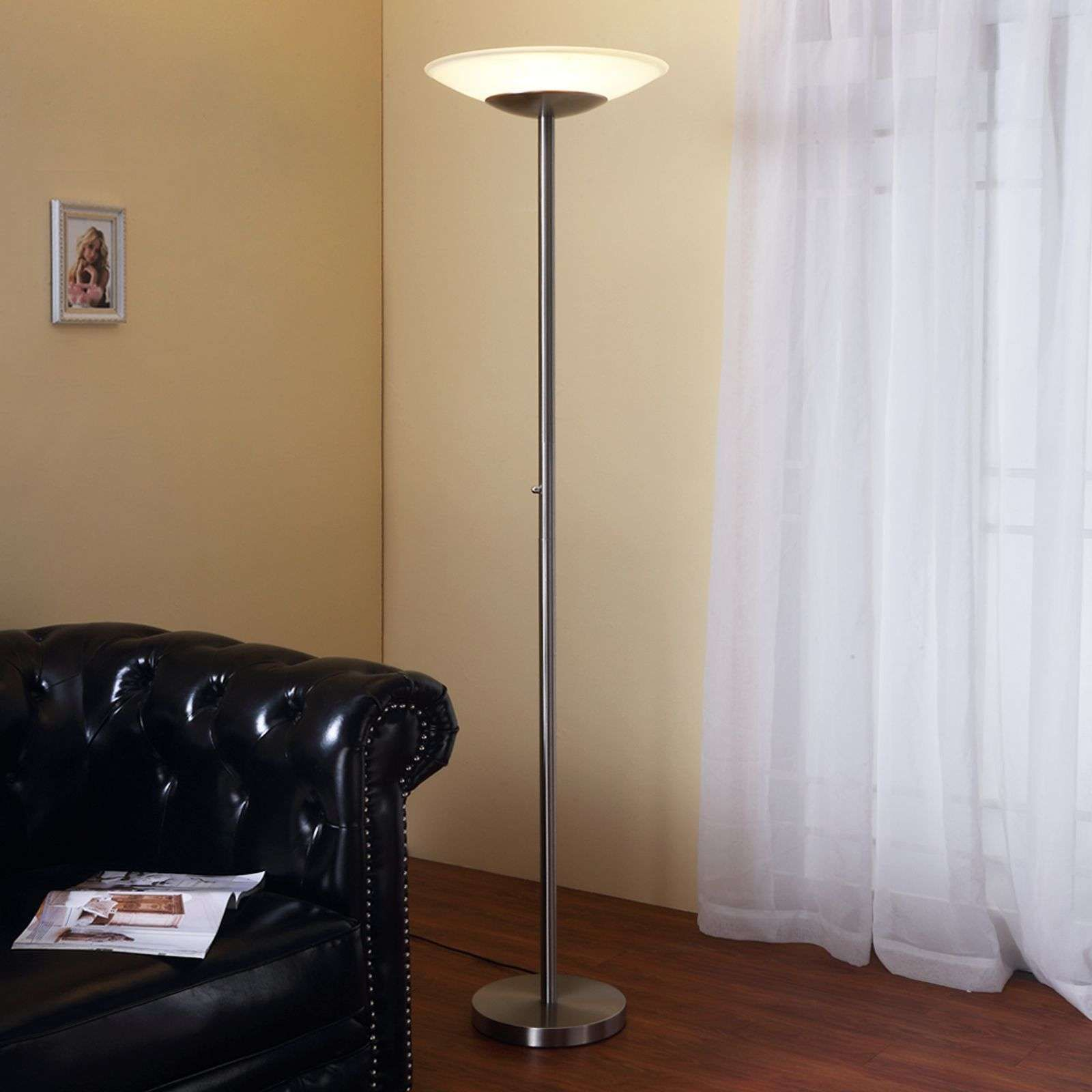 Lampadaire A Eclairage Indirect Led Ragna Nickel Lampadaire