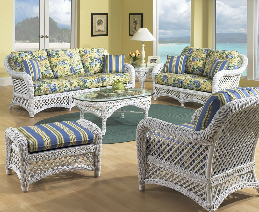 White wicker lanai set of 5 pinned by for Cane furniture ideas
