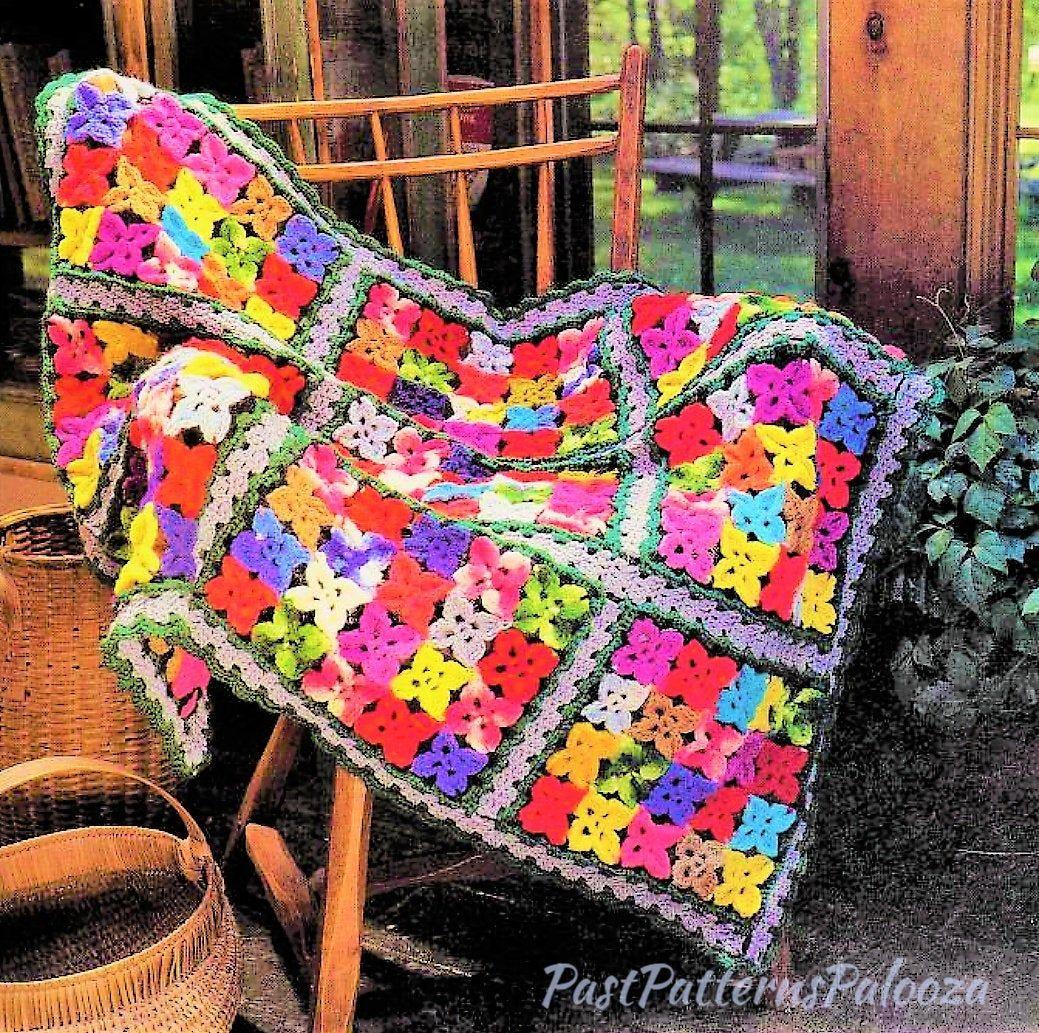 Vintage PDF Pattern Crochet Textured Popcorn Blocks To Make Bedspread With Fringe Instant Download