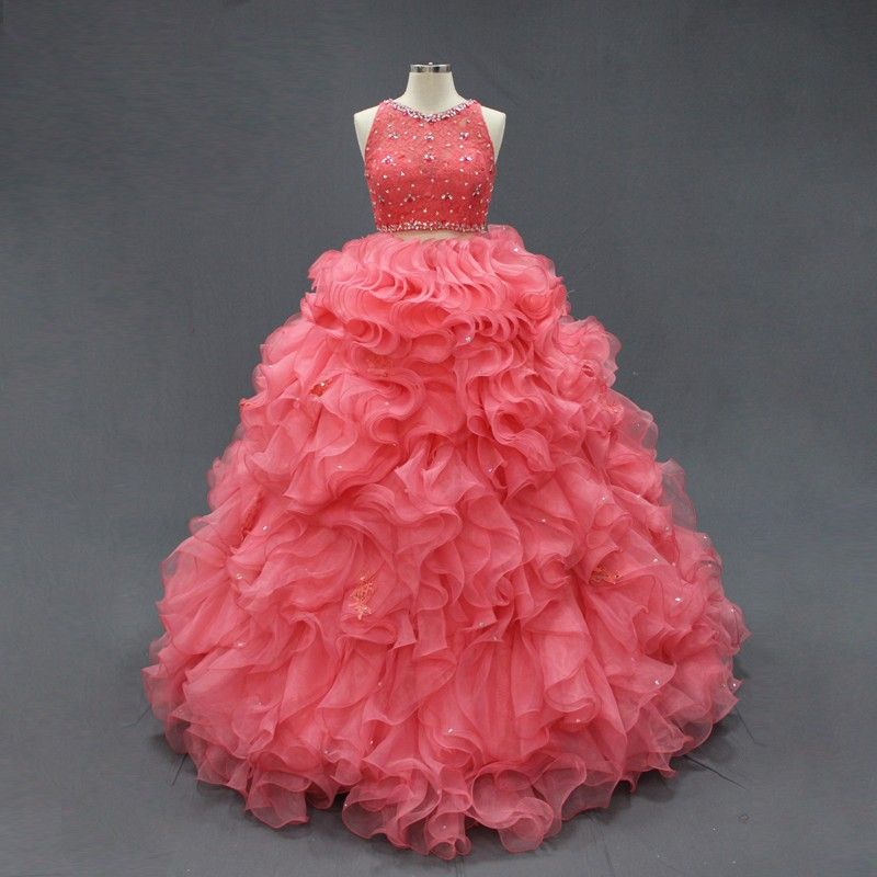 7461561cf Vestidos De Xv Anos Quinceanos 15 Anos 2 Piezas Calidad en Mercado Libre  México. Coral Quinceanera Dresses Two Pieces Lace Crop Ruffle Beaded Puffy  Modest ...
