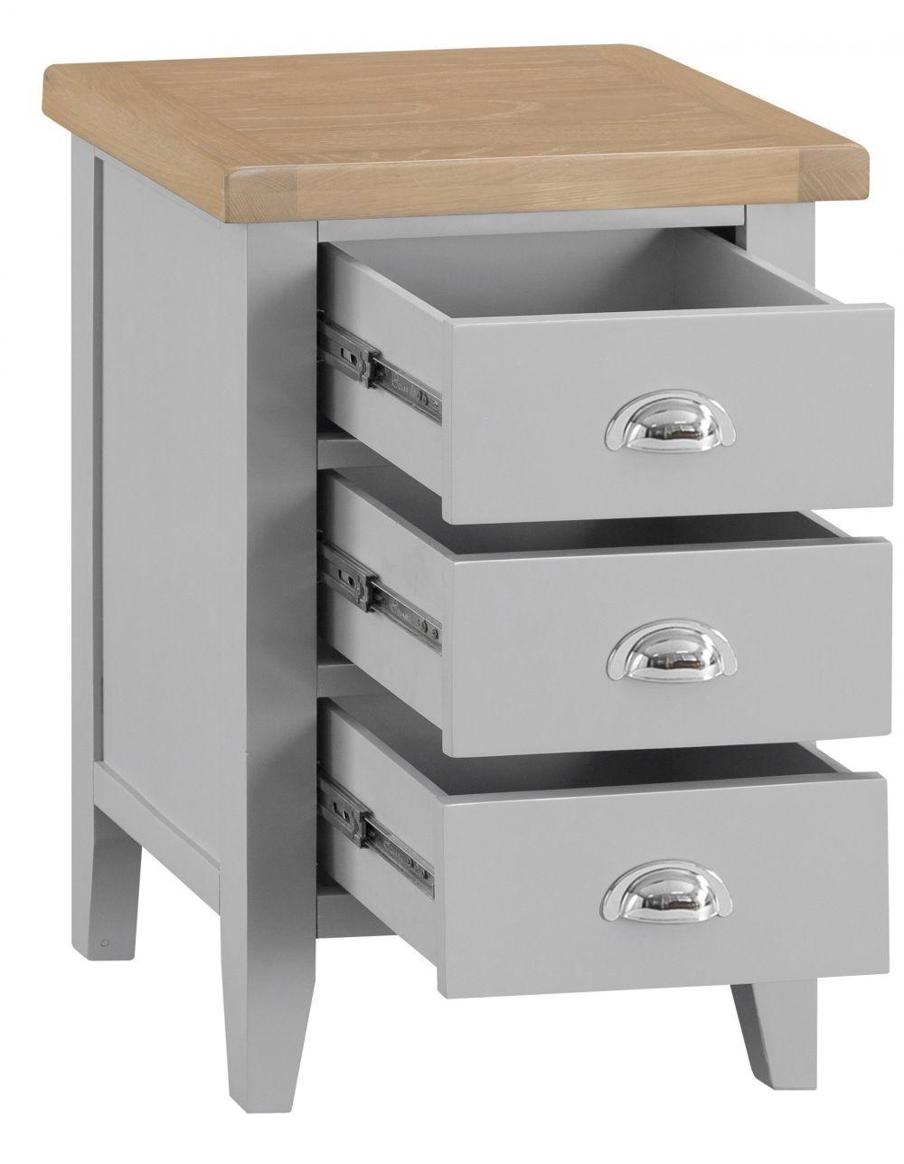 Suffolk Grey Painted Oak Large Bedside Table Tables Bedroom Furniture
