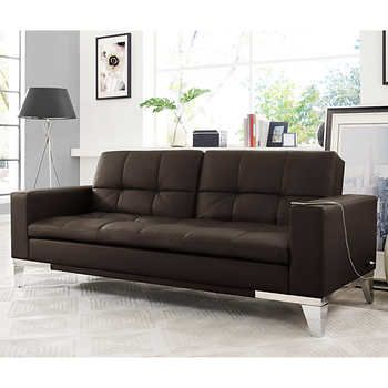 Brooklyn Bonded Leather Euro Lounger Brown Stuff To Buy Sofa Futon Sofa Bonded