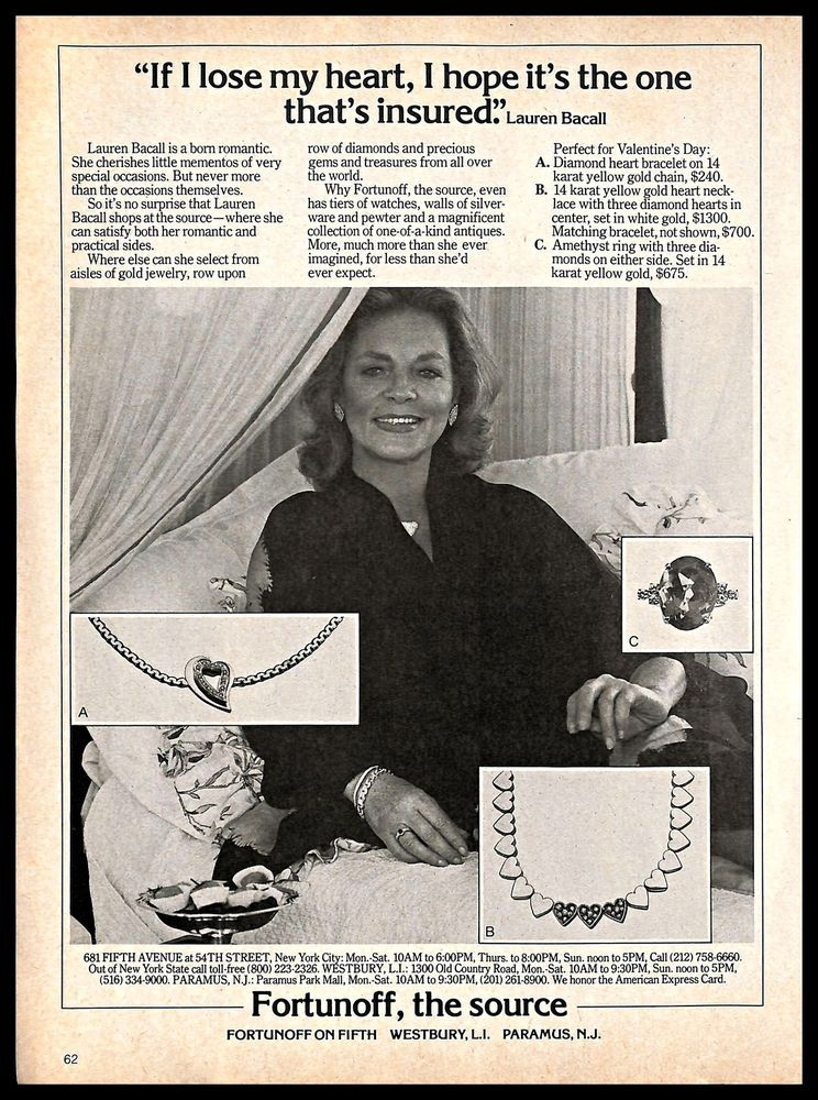 1981 Fortunoff Jewelry Vintage Print Ad Laurenbacall Hollywood Movie Actress Fortunoff Print Ads Jewelry Ads Vintage Prints