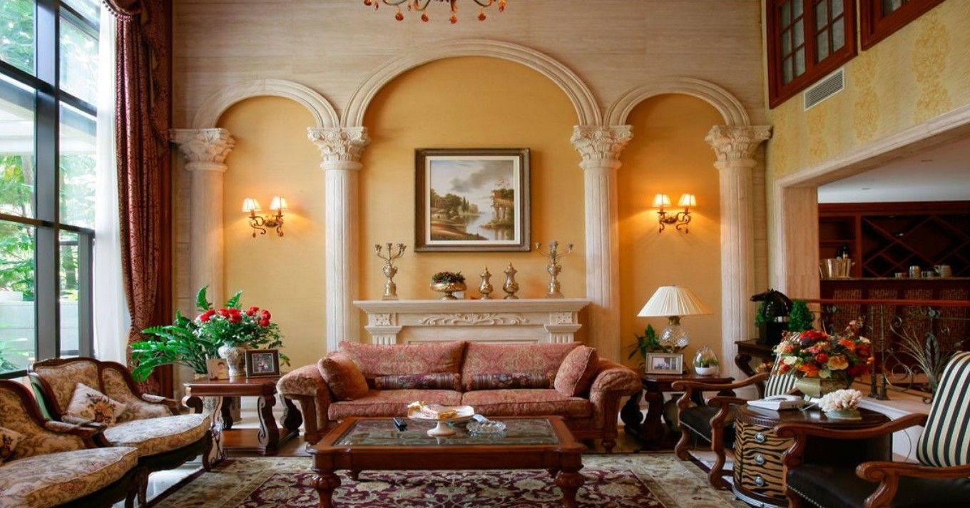 Roman Wall Design Living Room Villa Europe Retro Interior Design Living Room Designs Wall Design