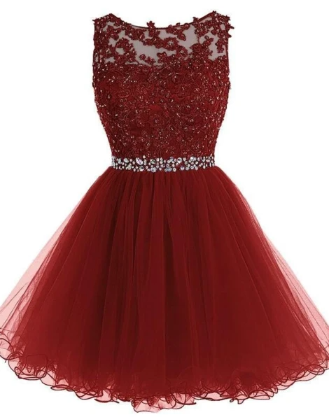 Homecoming Dress with Applique and Beading, Popular Short Prom Dress PDH0045