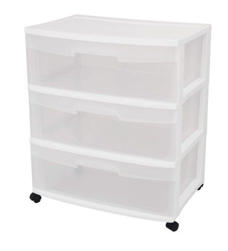 Sterilite 29308001 3 Drawer Wide Cart With See Through Drawers And