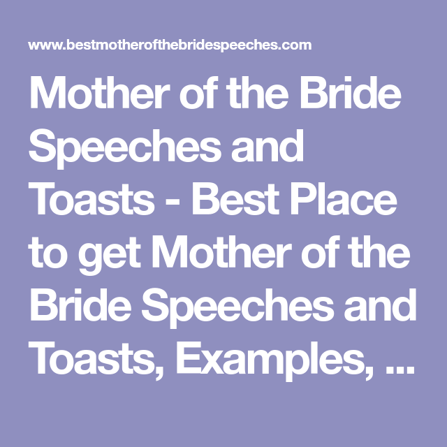 Mother Of The Bride Speeches And Toasts