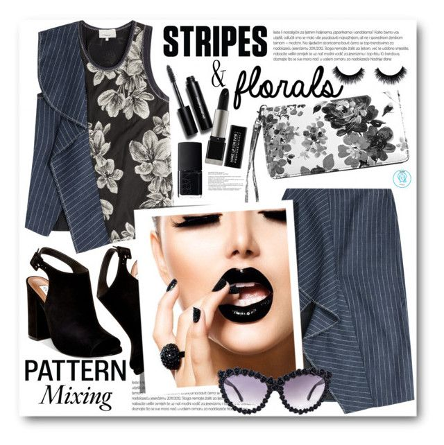 """""""Pattern Mixing: Stripes & Florals"""" by queenvirgo on Polyvore featuring 3.1 Phillip Lim, Steve Madden, Avenue, Bobbi Brown Cosmetics, A-Morir by Kerin Rose and NARS Cosmetics"""
