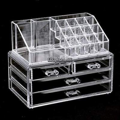 Clear Acrylic Makeup Cosmetics Organizer Cabinet Display Case Box