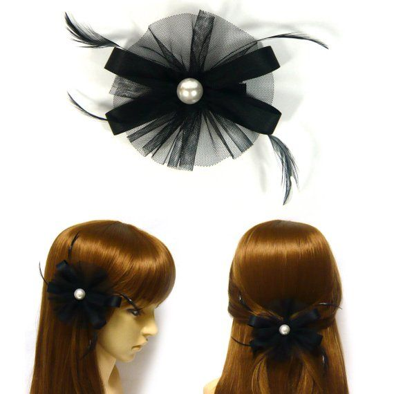 Black Thin Round Net Mesh Fabric Flower Ribbon Bow Faux Pearl Feather Decor Fascinator Style Hair Clip Pin Hairpin Women Fashion Accessory