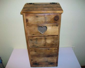 Vintage   Rustic Wooden Potato Bin With Tip Out Onion Drawer. Has Heart  Shape Cut