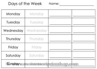 calendar worksheets printable montessori materials for home and school - School Worksheets To Print