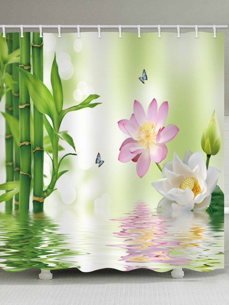 Bamboo Forest Lotus Pond Print Bath Waterproof Shower Curtain