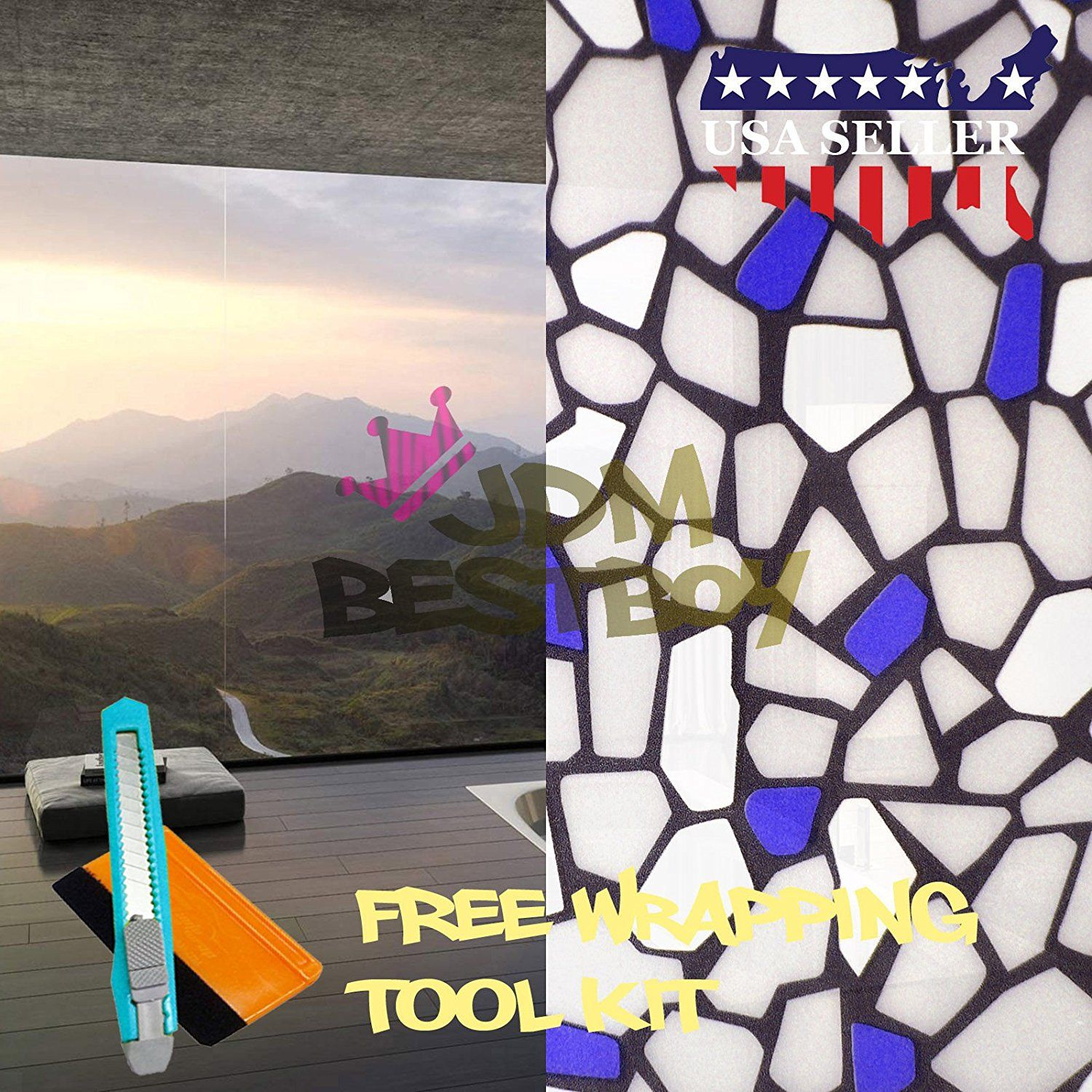 Free Tool Kit Ezautowrap Blue Brick Frosted Glass Peel And Stick
