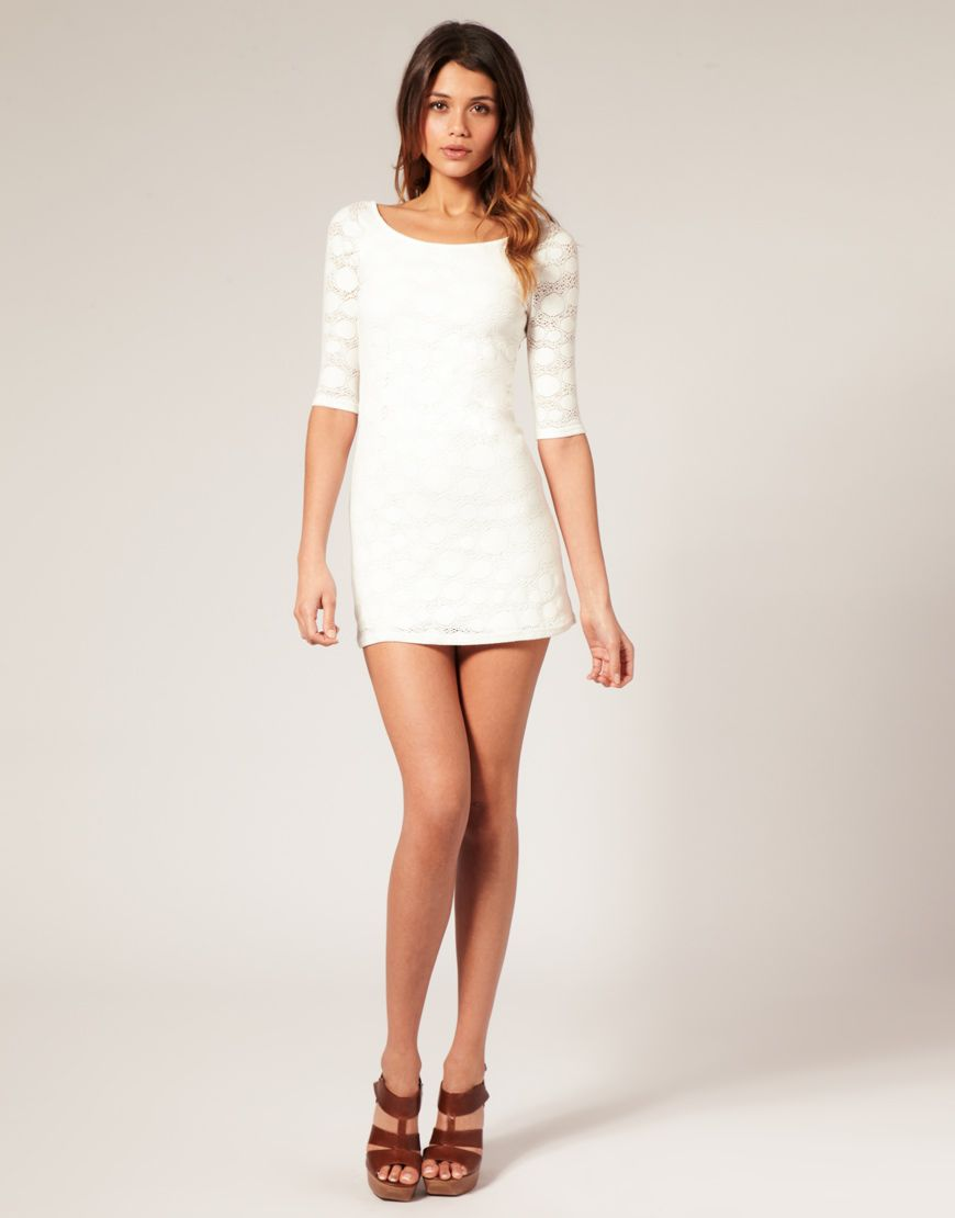 White Mini Dresses - Artee Shirt