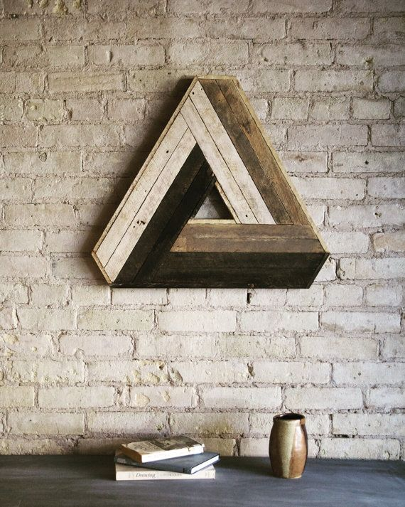 Wood Wall Art, Reclaimed Wood Wall Art, Wood Decor, Wood Art, Wall Art, Wall Decor, Modern Wood Art, Penrose Triangle, Geometric Pattern #reclaimedwoodwallart