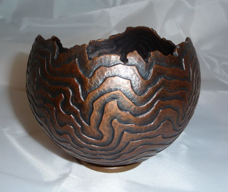 Copper Bowl Raised From Sheet Metal With Repousse And Chasing Sheet Metal Art Repousse Metal Art