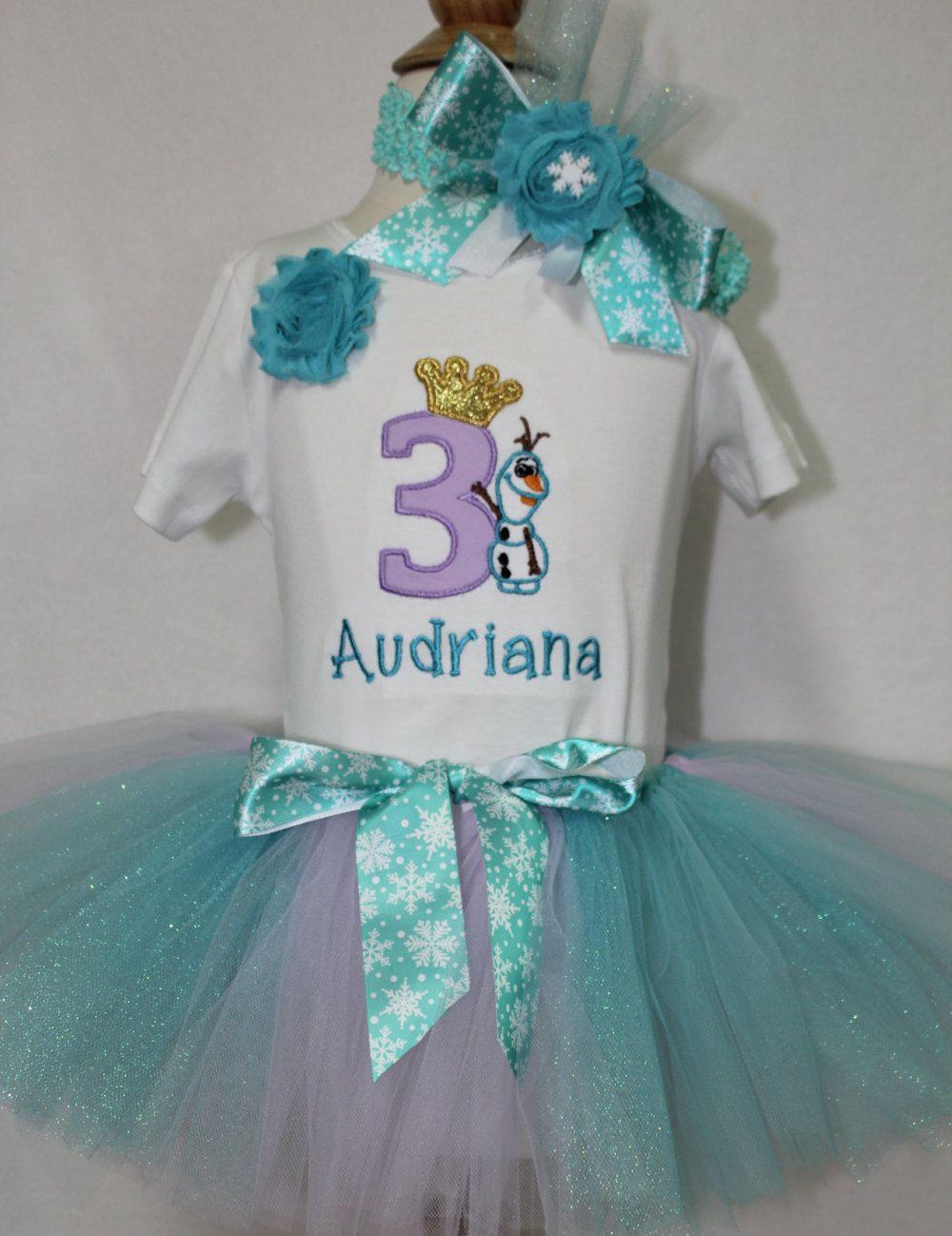 Girls Disney Birthday,Olaf Birthday outfit, Third Birthday