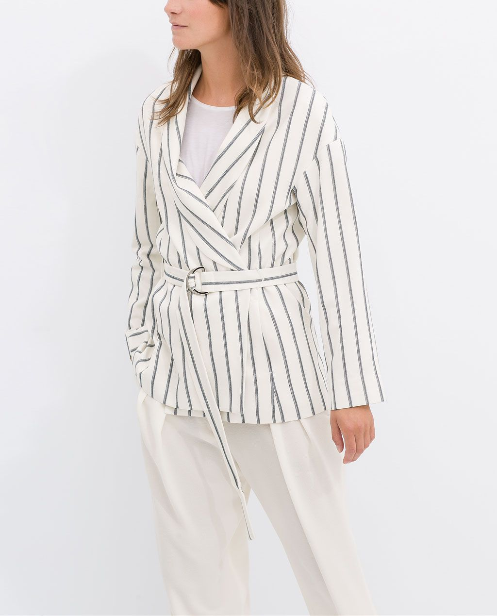 ZARA - SALE - Ecru/Navy STRIPED BLAZER WITH BELT