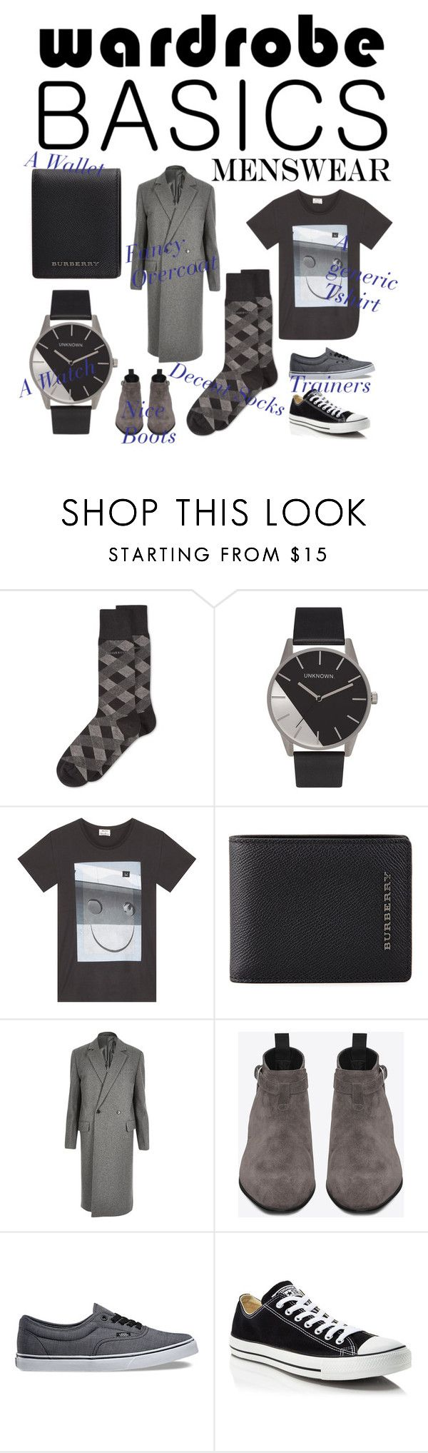 """""""Men's wardrobe basics"""" by happyino ❤ liked on Polyvore featuring HUGO, Acne Studios, Burberry, River Island, Yves Saint Laurent, Vans, Converse, mens, men and men's wear"""