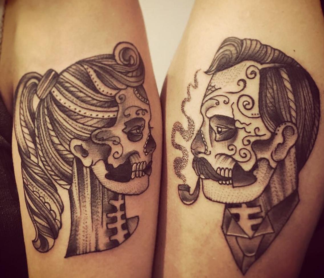 Ideas For Couple Tattoos Tatuaje Pareja Calavera Tatuajes De Parejas Tatuajes Hipster