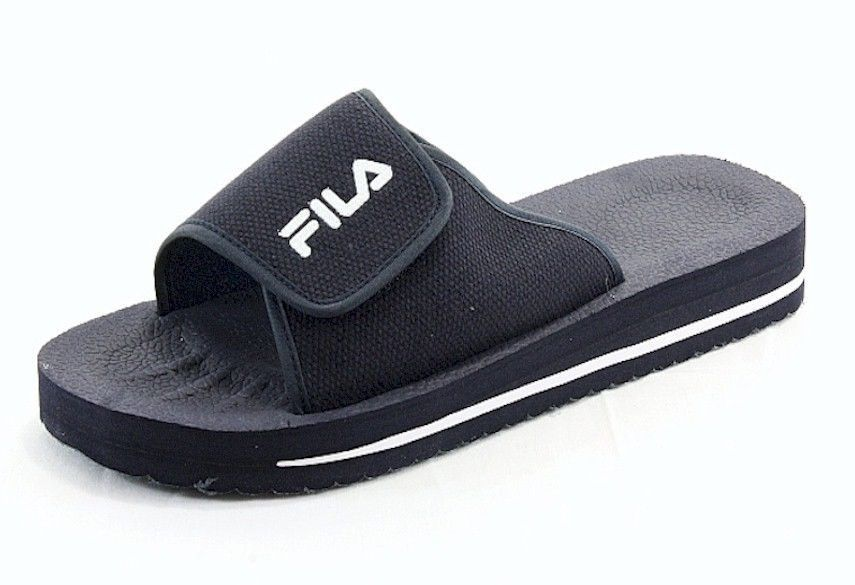 0be8c5a718f3 Boys   Mens Classic Fila Velcro Slip On Low Slide Sandals Navy   White Size  10  Fila  Slides