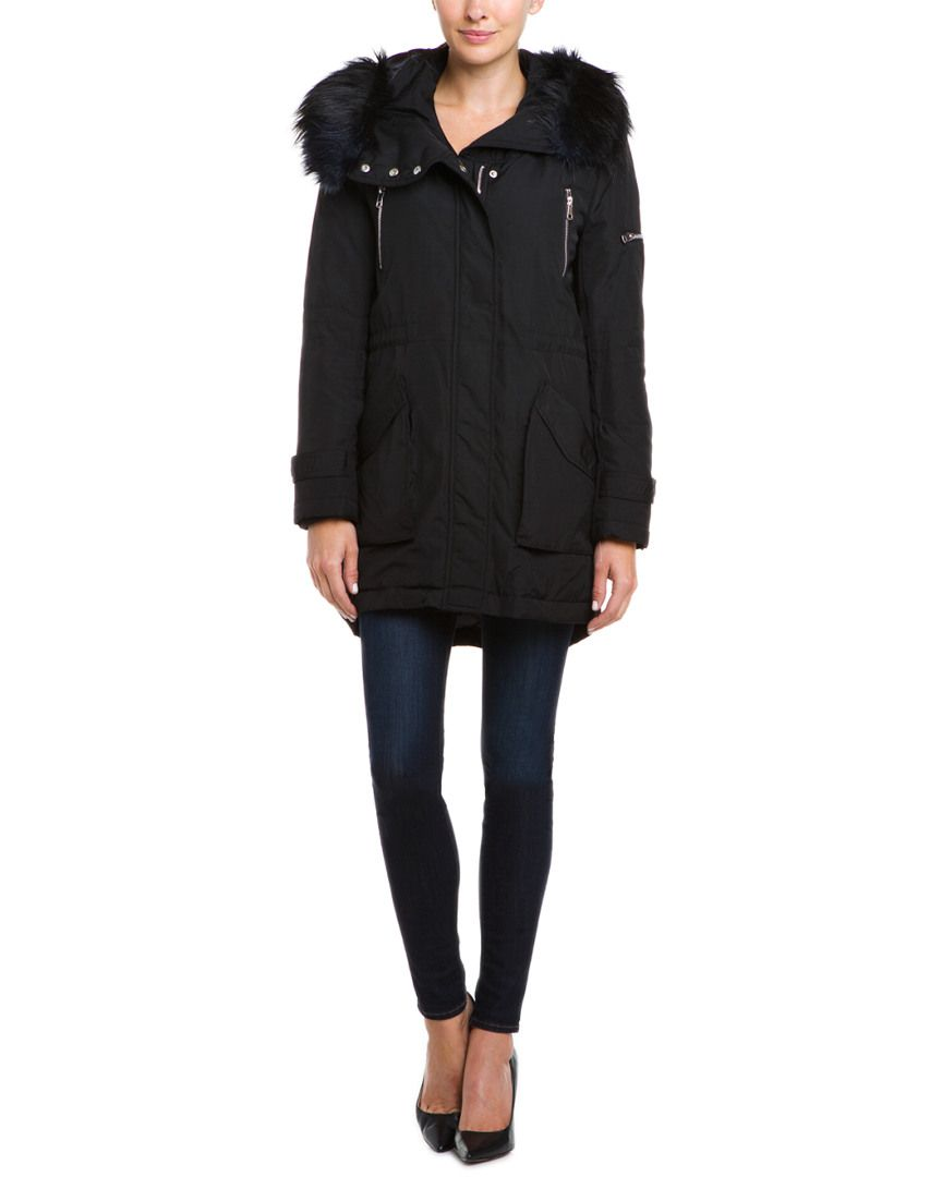 French Connection Black Faux Fur Trim Hooded Parka Jacket is on Rue. Shop it now.