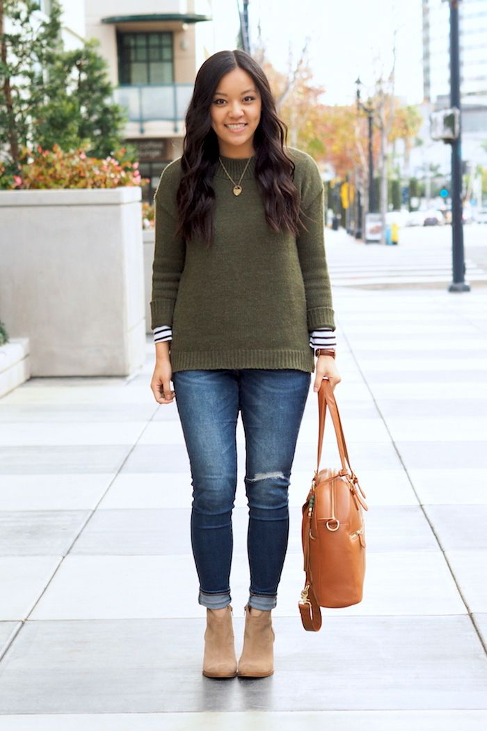 6490df8af88 How to Wear an Olive Sweater 3 Ways + 5 Inexpensive Olive Sweater ...