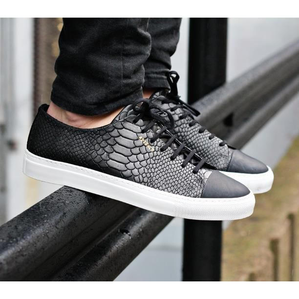 python embossed leather sneaker