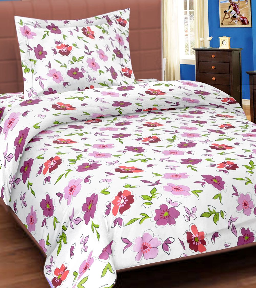 White And Multicolour Printed Cotton Single Bed Sheet With One Pillow Cover #indianroots #homedecor #bedsheets #pillowcover #cotton #printed