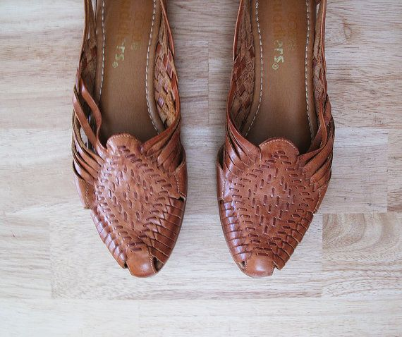 Etsy Transaction -          vintage WOVEN huaraches leather flats 9