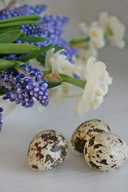 VIBEKE speckled Easter eggs and blue flowers