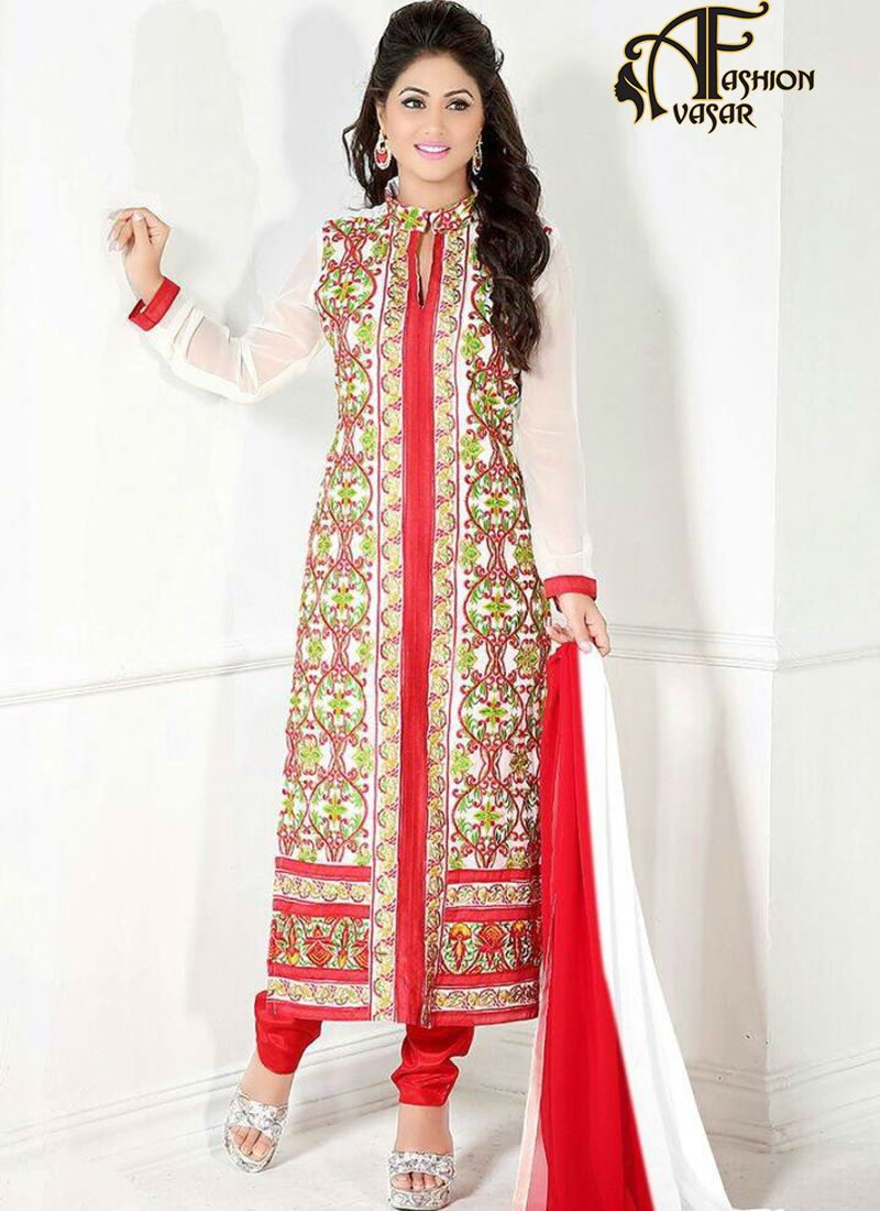And Red Party Wear Embroidered Georgette Long Straight Suit