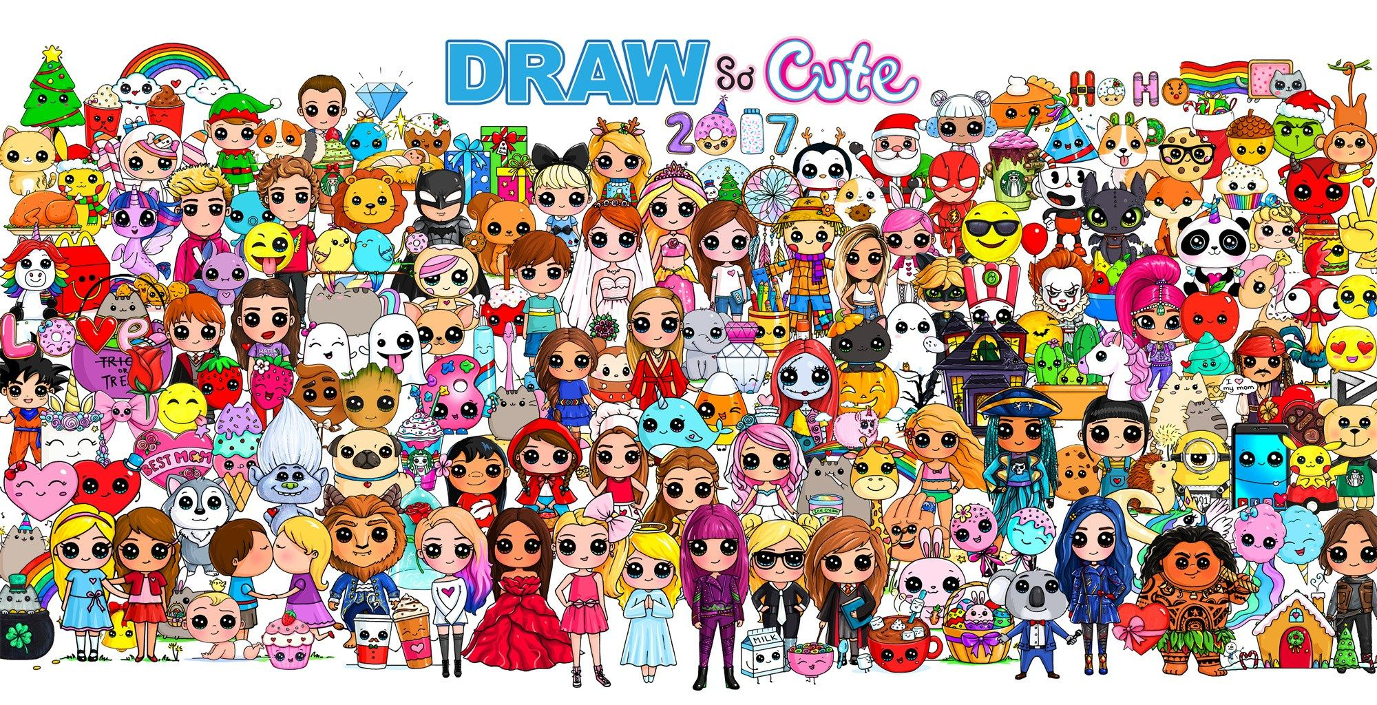 Happy Anniversary Draw So Cute 2017 Characters Poster Drawing Cute Drawings Kawaii Drawings