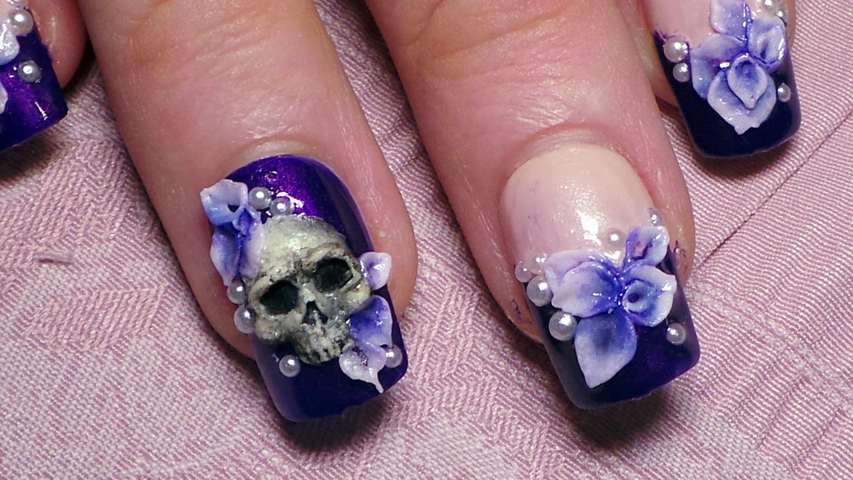 Howto 3d Skull Flowers Nail Art Tutorial Nail Art Pinterest