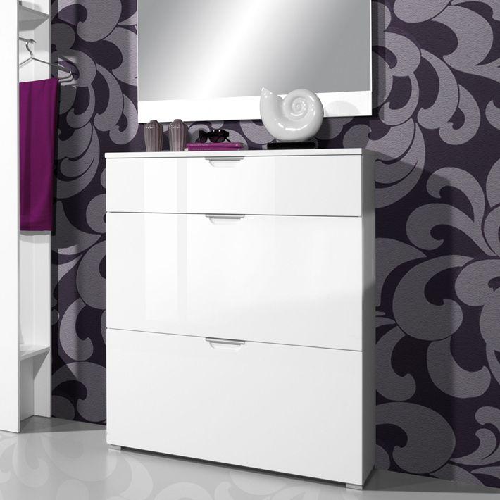 equiper son entr e avec le meuble chaussures blanc laqu. Black Bedroom Furniture Sets. Home Design Ideas