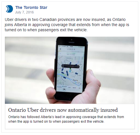 Ontario Uber Drivers Now Automatically Insured! Canadian