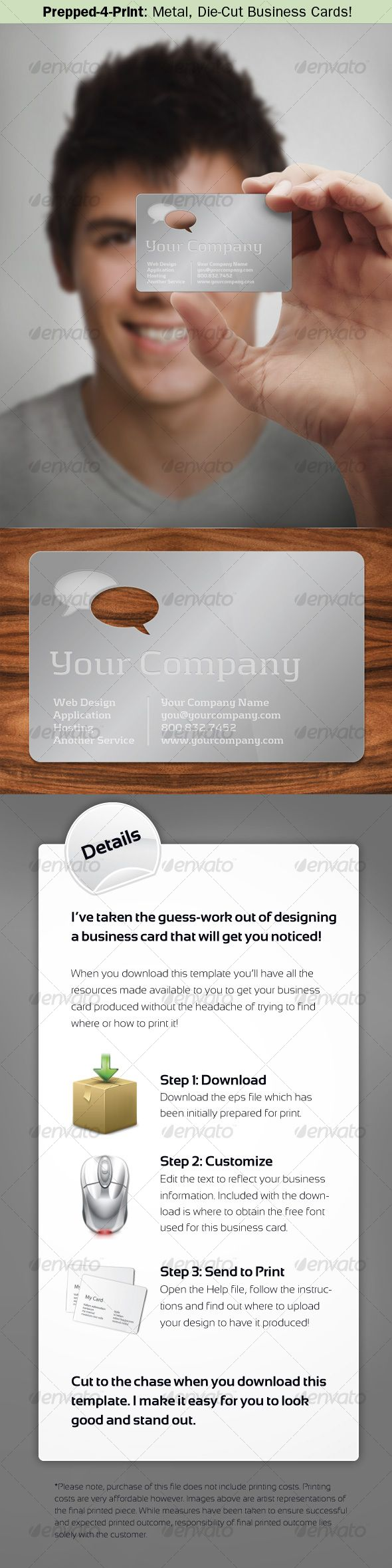 Prepped 4 Print Metal Die Cut Business Card Pinterest Business