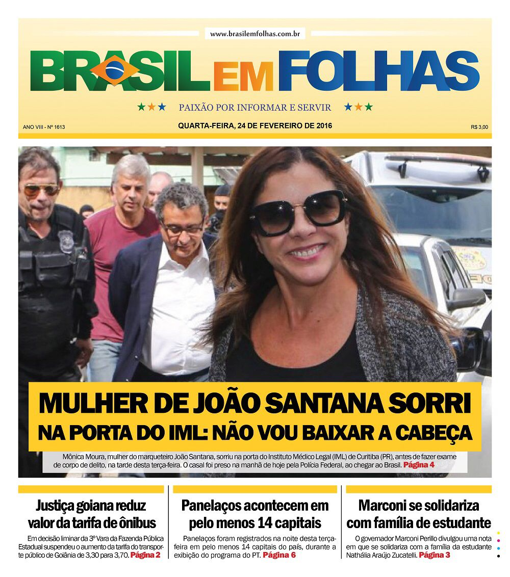 Mônica Moura, mulher do marqueteiro João Santana, sorriu na porta do Instituto Médico Legal (IML) de Curitiba (PR), antes de fazer exame de corpo de delito, na tarde desta terça-feira. O casal foi preso na manhã de hoje pela Polícia Federal, ao chegar ao Brasil. http://www.brasilemfolhas.com.br/