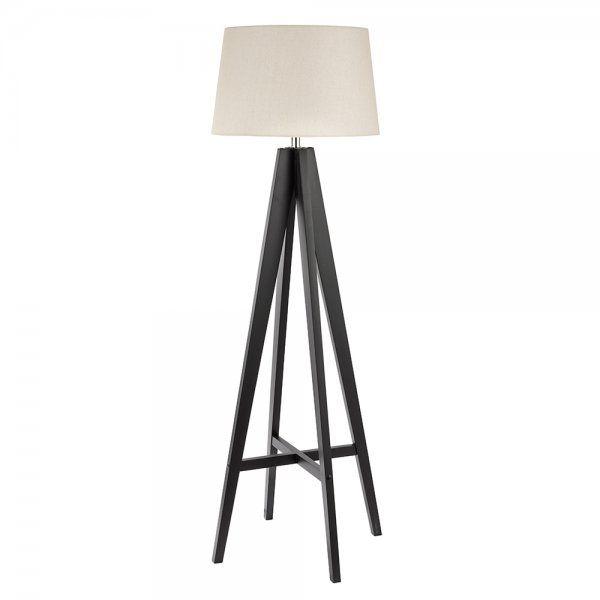 Searchlight Lighting Modern Single Light Dark Wood Floor Lamp With
