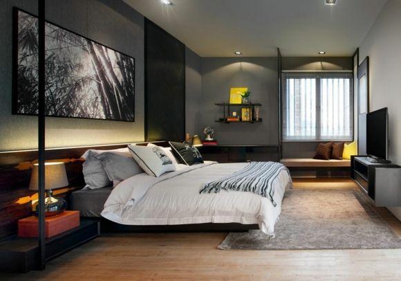 Idée couleur chambre - la chambre à coucher en gris - couleur de la chambre
