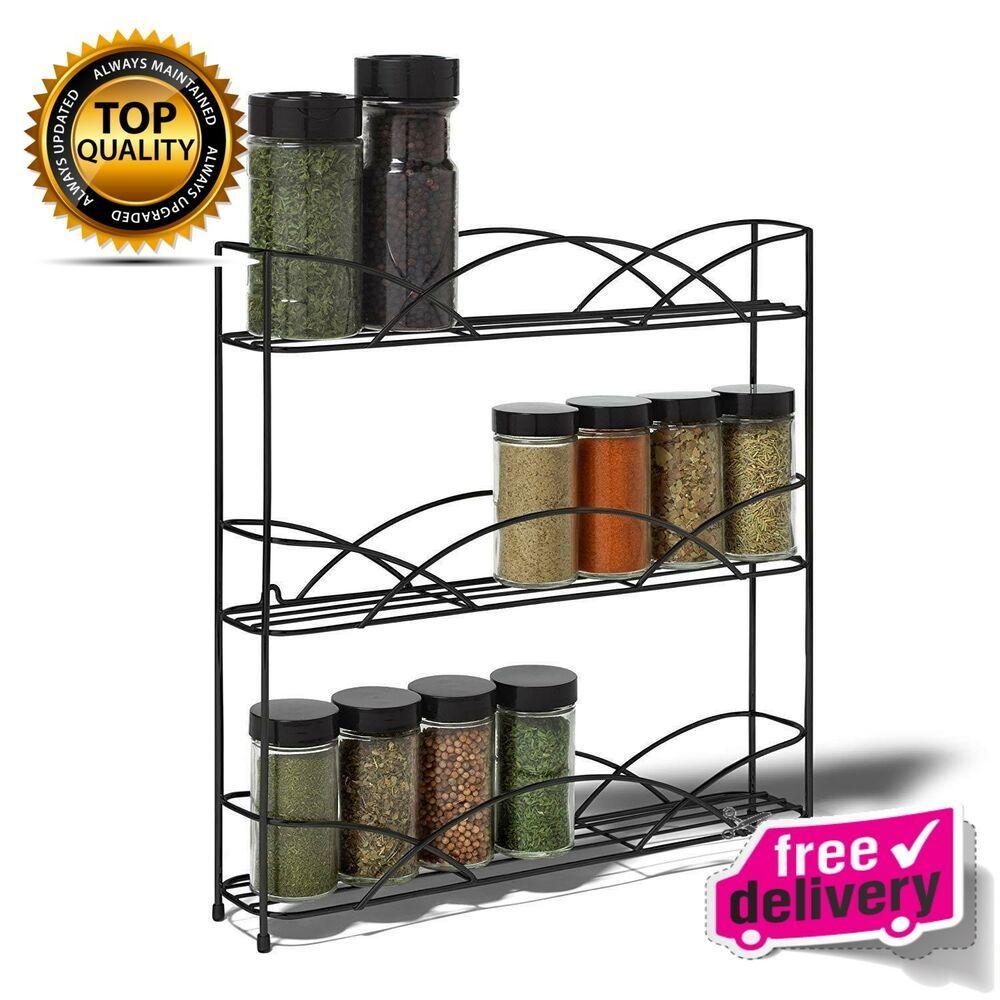 Wall Mount Kitchen Shelf Pantry Holder Door Spice Rack Cabinet