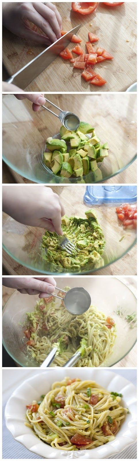 "Fast, fresh and so easy. The longest part of this recipe is cooking the pasta. The avocado ""sauce"" is made in literally minutes. From inspiredtaste.net 