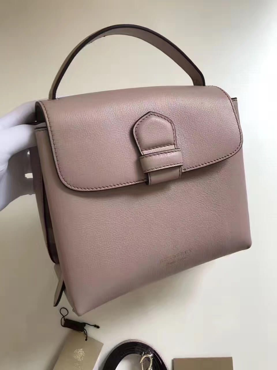 b5c387cf3bb4 Burberry Small Grainy Leather and House Check Tote Bag Pink 2017 ...