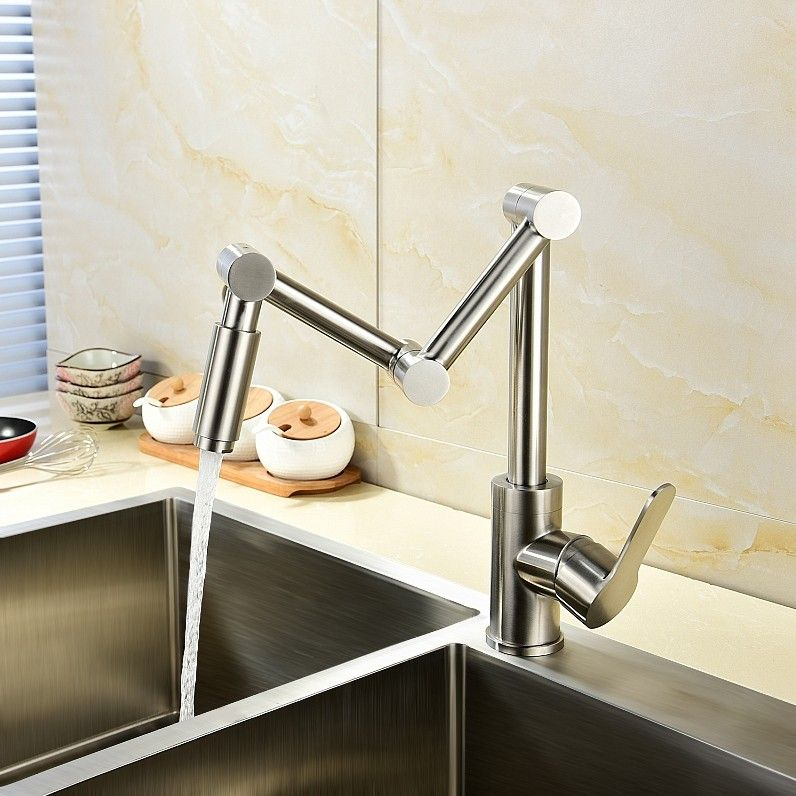 Modern Stainless Steel 1 Handle 1 Hole Articulating Kitchen Faucet Deck Mount Pot Fill In 2020 Kitchen Faucet With Sprayer Kitchen Faucet Brushed Nickel Kitchen Faucet