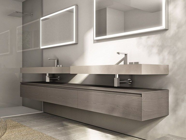 Modular Suspended Bathroom Cabinet With Drawers Cubik Collection By Ideagroup Arredamento Bagno Mobile Bagno