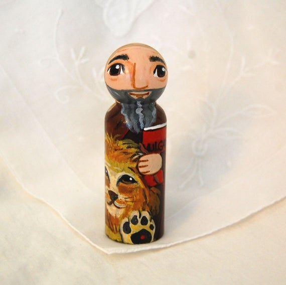 St Jerome Catholic Saint Doll - Peg Toy - Made to