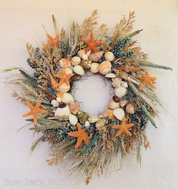 "Photo of Seashore Primitive Wreath""Dancing Starfish""Nautical Decor,Seashore Wreath w/Sugar Starfish,Shells,Seashell Wreath, Beach Wreath"